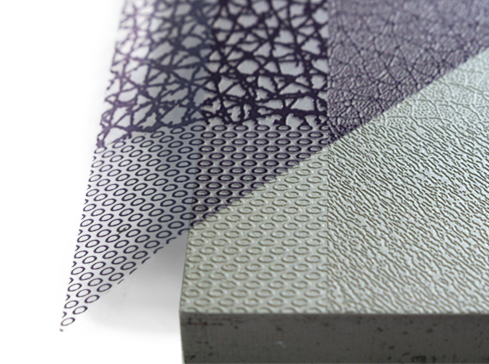 Acid etched mold texturing samples